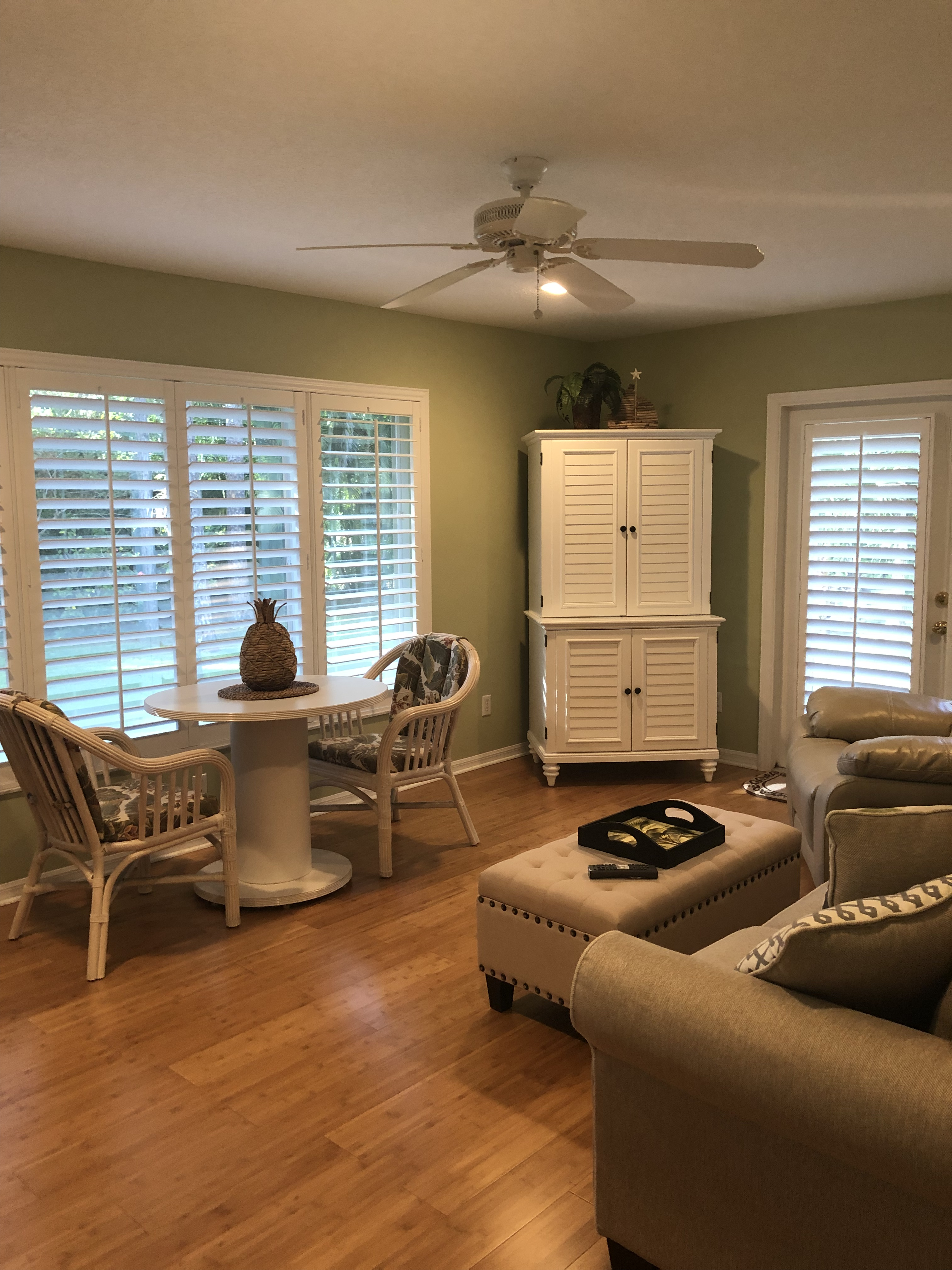 French Doors Plantation Shutters With Cutout For Handle Made