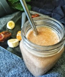 Chocolate peanut butter smoothie in a glass jar