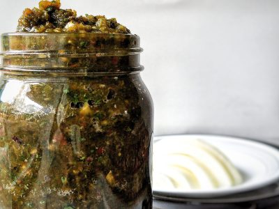 Homemade, Puerto Rican sofrito, a blended vegetables including bell peppers, onion, garlic, and cilantro. Blended and stored in a canning jar.