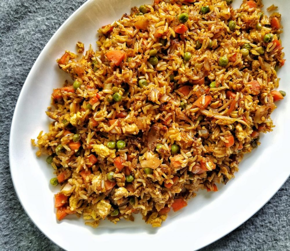 Fried rice but without the oil using brown rice, mixed vegetables , and soy sauce.