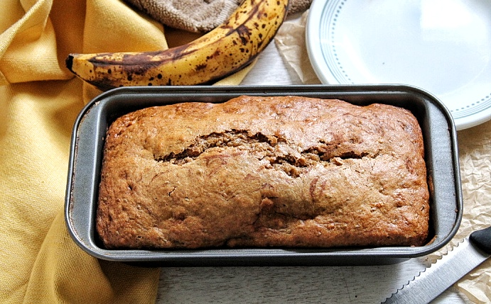 Whole loaf of banana nut bread