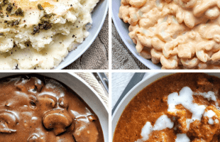 Collage plant-based, vegan Thanksgiving side dishes