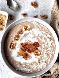 Cream of rice topped with walnuts and shredded coconut