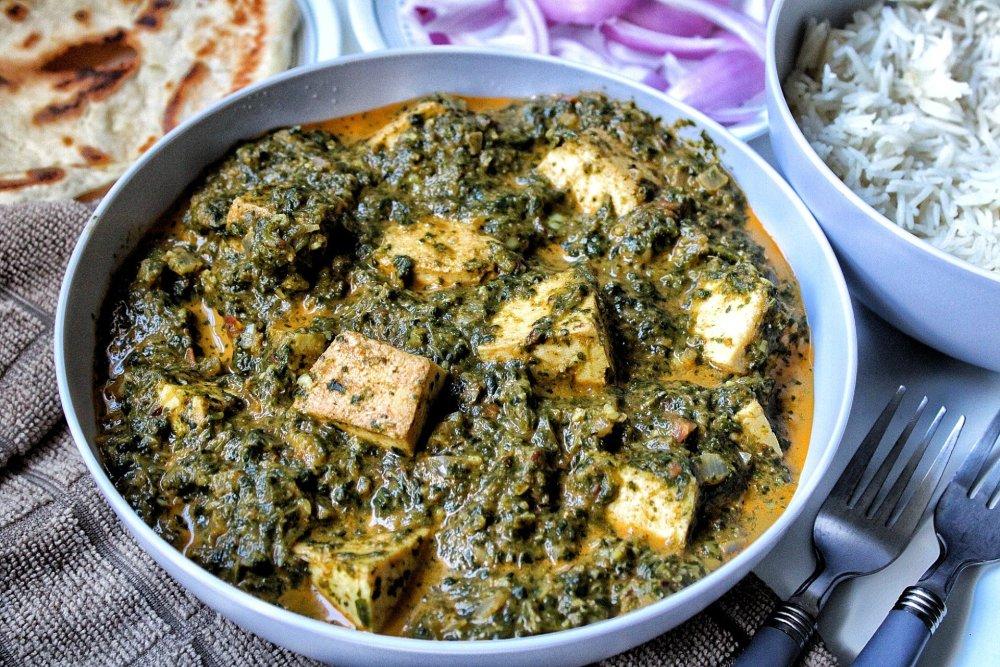 Vegan tofu palak paneer close up