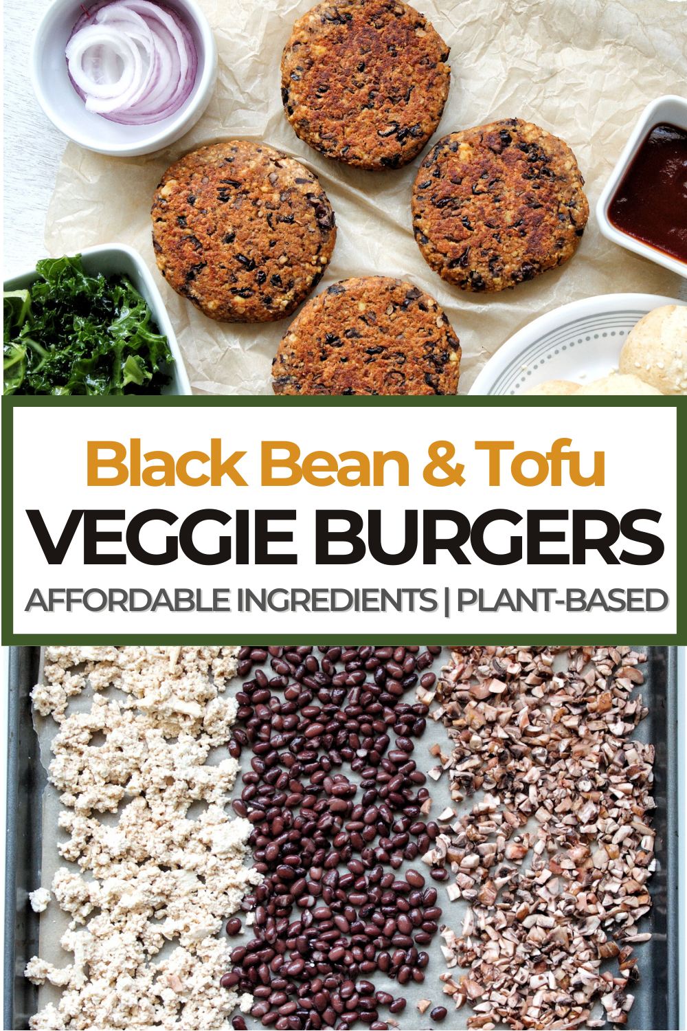 Four black bean burger patties with sliced onion and ketchup in a small bowl