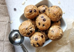 Small bowl of edible cookie dough balls with chocolate chips