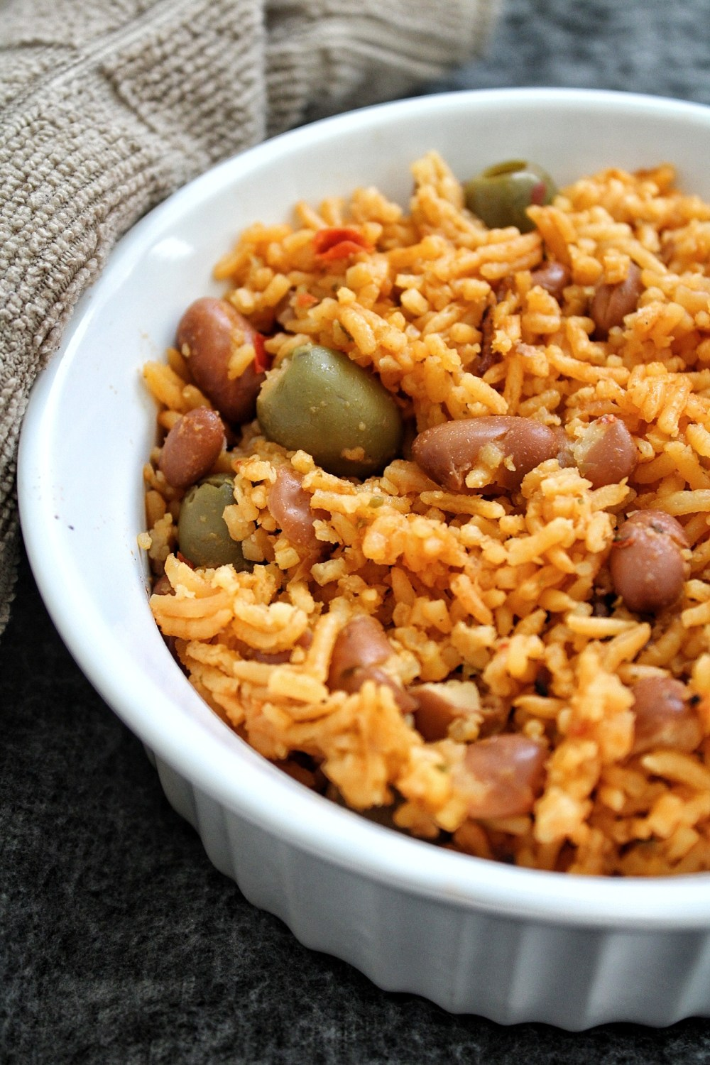 Puerto Rican yellow rice with pink beans