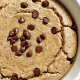 Baked oats topped with vegan chocolate chips