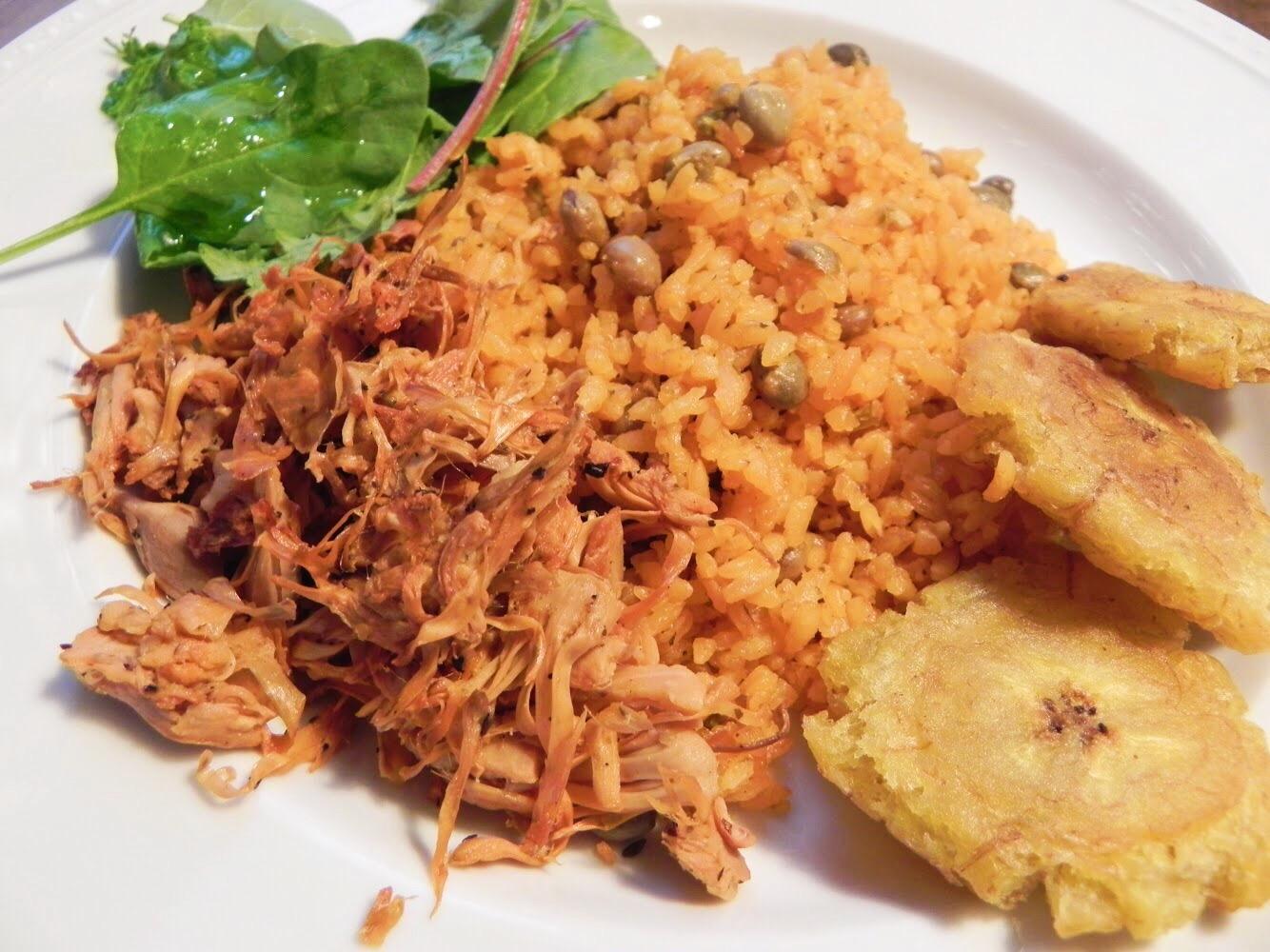 "Arroz con Gandules y ""Pernil"" de Jaca/Rice and Pigeon Peas with Jackfruit ""Pork"""