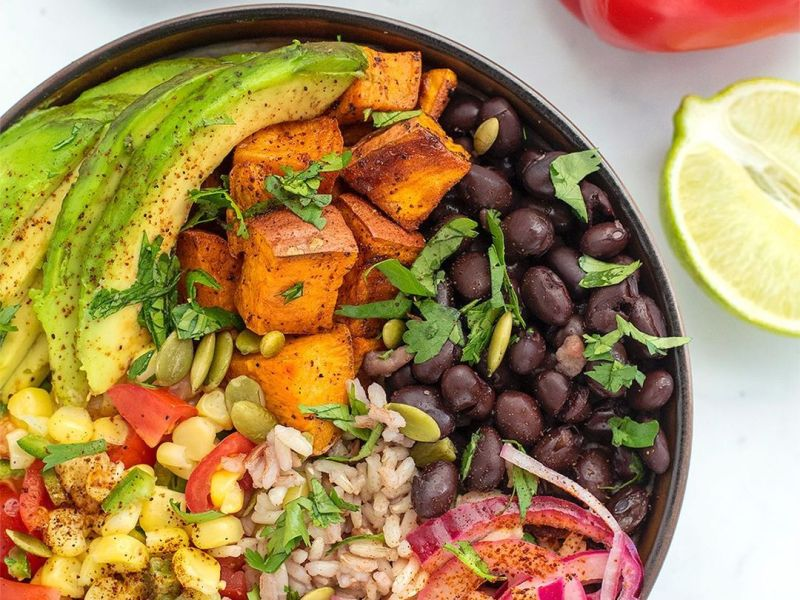 burrito bowl with crispy roasted sweet potatoes