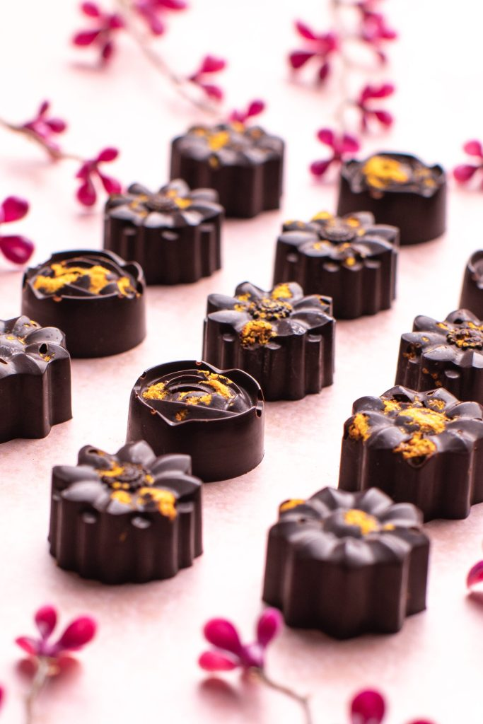 Dark Chocolate Chilli and Orange Flowers