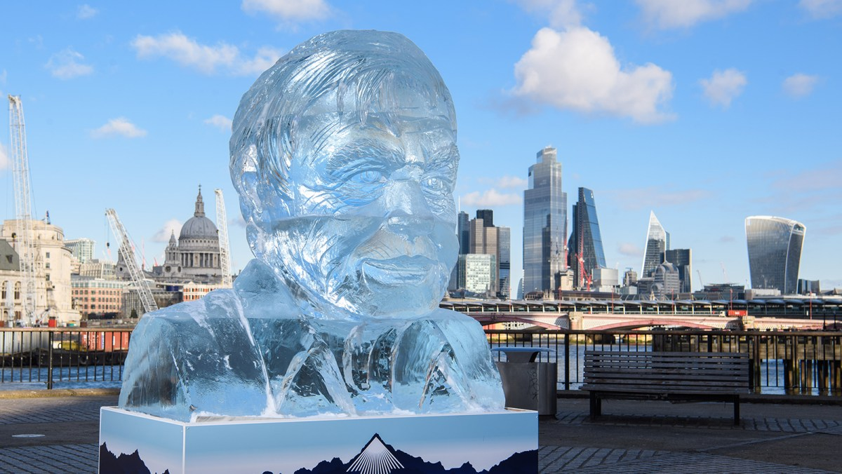Giant Ice Sculpture Of David Attenborough Unveiled - Shows Rate Of Ice Melting In Arctic Sea