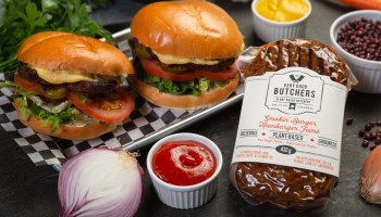 Products from The Very Good Food Company, two burgers.