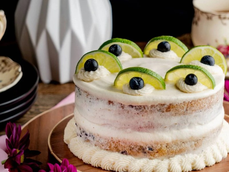 Blueberry, Lemon Cake With Vegan Cream Cheese Frosting