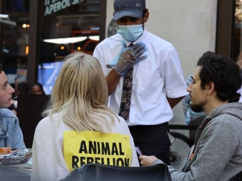 Animal Rebellion is holding 'Mc-sit-ins' to protest McDonald's, which it demands go plant-based by 2025