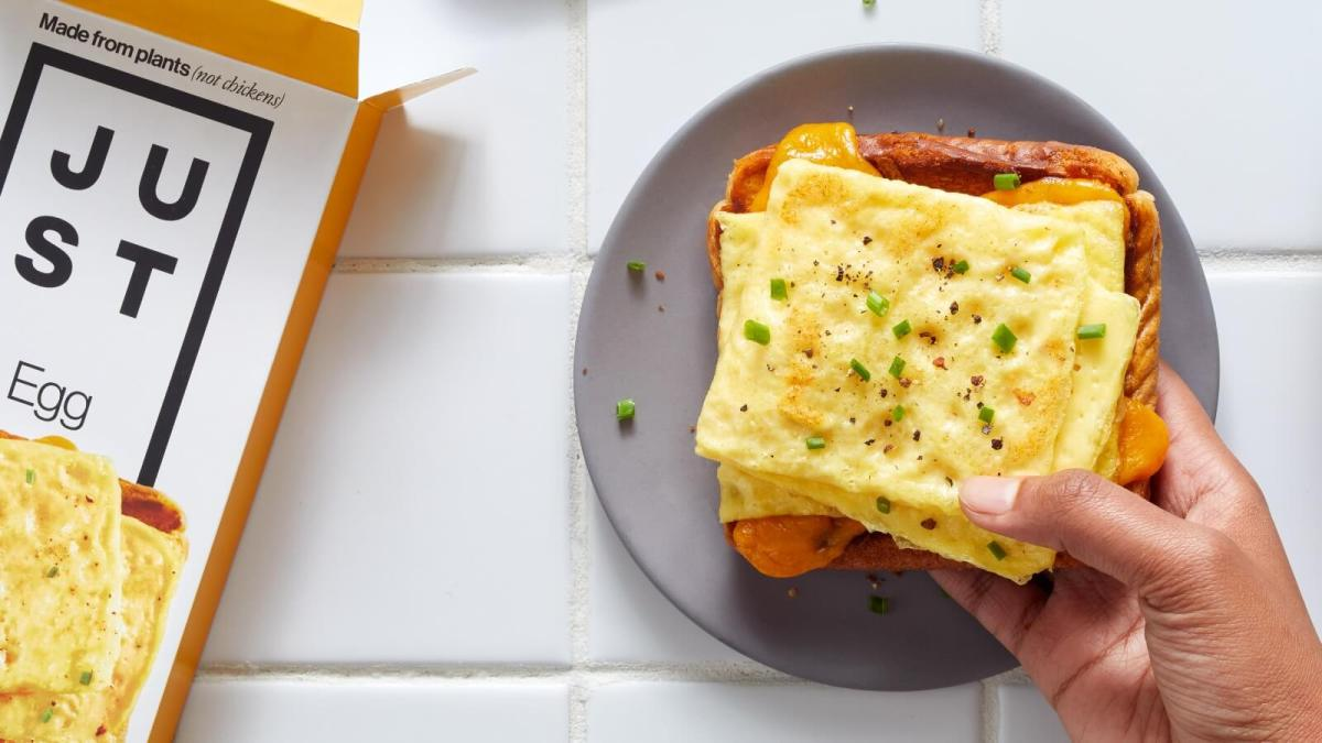 Vegan toaster eggs made by Just Eat on a sandwich