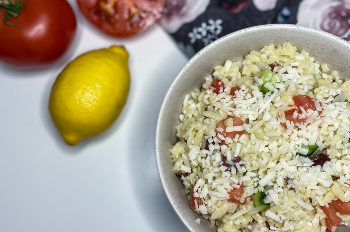 Greek orzo pasta salad in a bowl