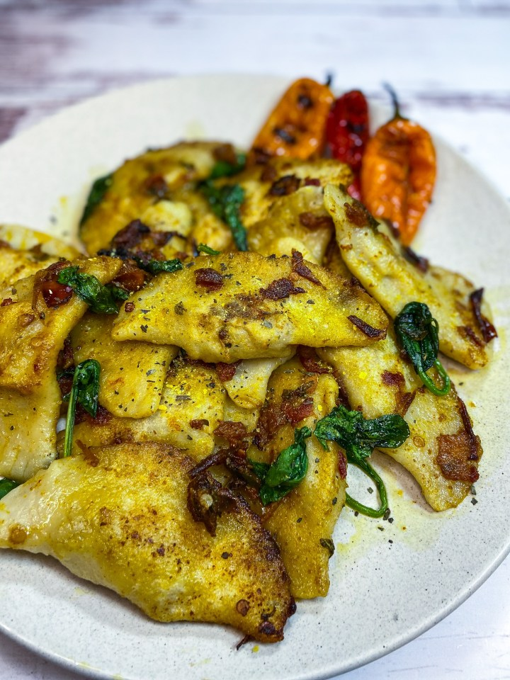 VEGAN PIEROGIS WITH SWEET PEPPER AND HERB SAUCE