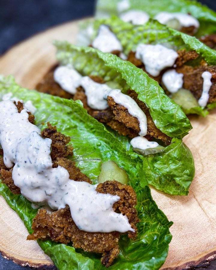 VEGAN SOUTHERN FRIED CHICKEN LETTUCE WRAPS