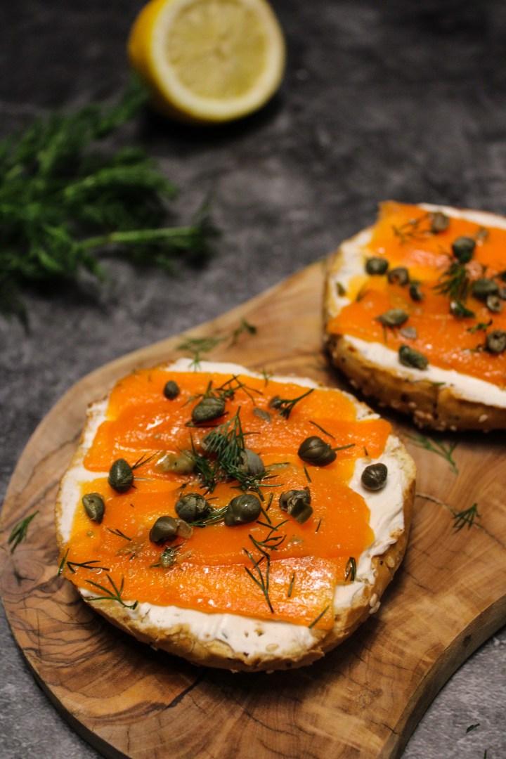 Vegan smoked salmon lox on a bagel with vegan cream cheese