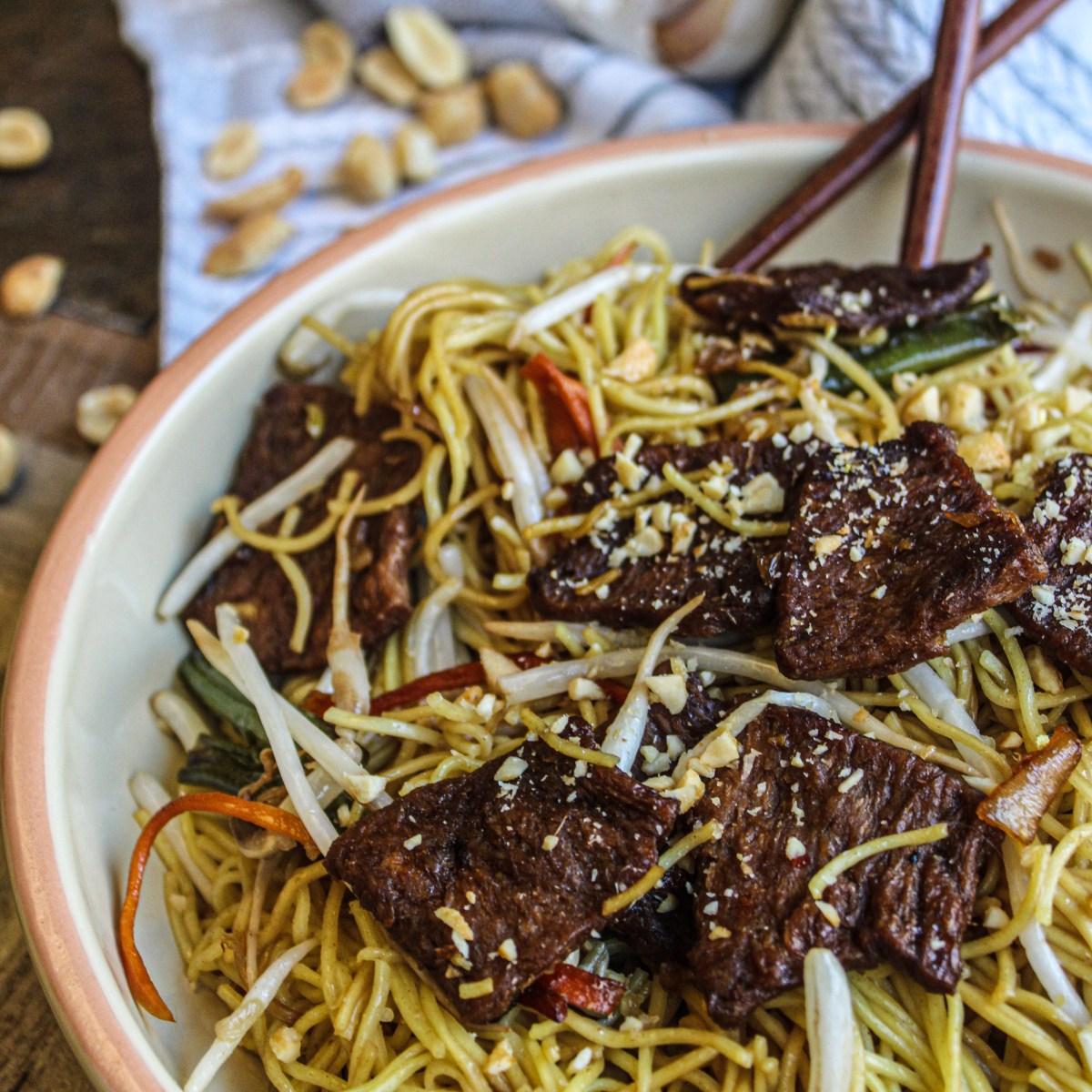 vegan beef noodle bowl