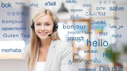 multilingual Woman in headset over words in foreign languages
