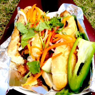 Bánh Mì Chay from Nammi's Food Truck. This Vietnamese sandwich featured a French baguette with ginger stir-fried tofu, vegenaise (vegan mayo), cilantro, pickled daikons & carrots, cucumbers,and jalapeños.