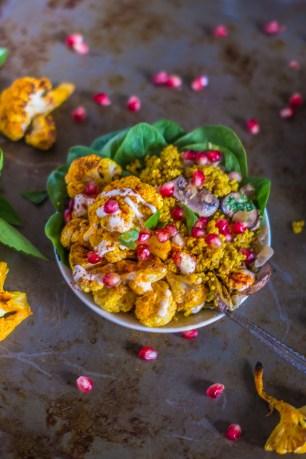 Coconut Curry Quinoa With Mushrooms, Lemongrass and Roasted Cauliflower | plantcrush.co