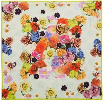 Floral print botanical scarf