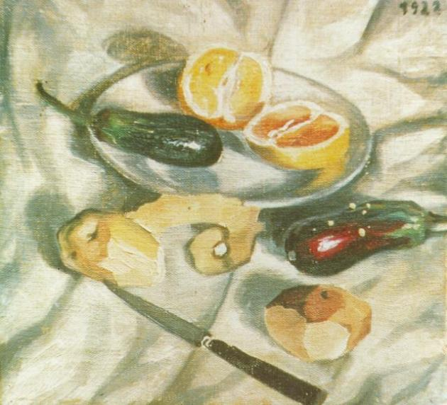 Dali still life with aubergines