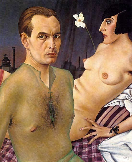 Self Portrait with Model by Christian Schad (1927)