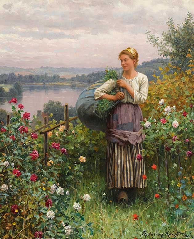 DANIEL RIDGWAY KNIGHT THE ROSE GARDEN