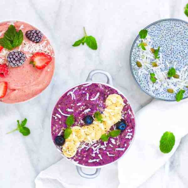 Three smoothie bowls