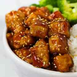 Finished picture of tofu with a sesame glaze.
