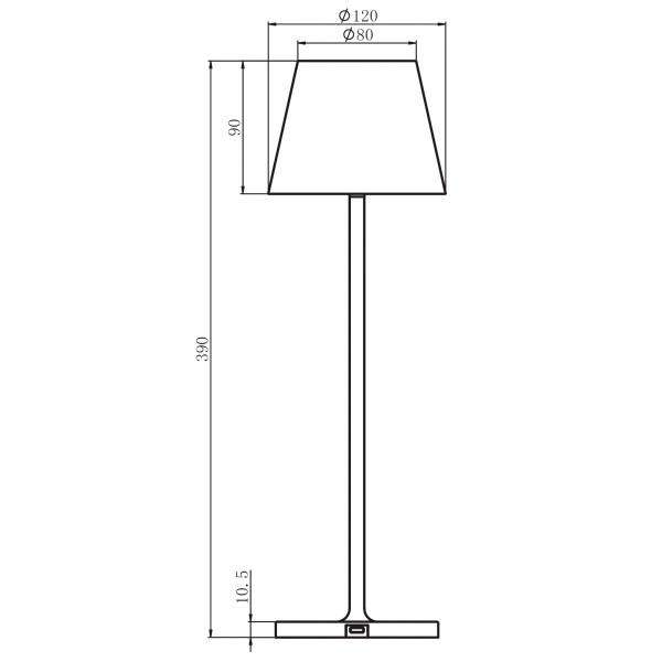 Tegning af bordlampe