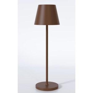 Transportabel trådløs mahogni bordlampe – dæmpbar