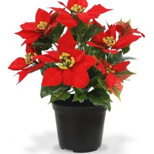 Poinsettia kunstplant 40 cm rood in pot
