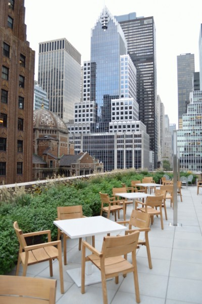 800 feet of DeepStream Designs lightweight modular multi-section planter system, shown on a roof deck in midtown Manhattan, made with maintenance free recycled plastic lumber