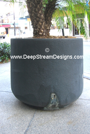 cement planter with unsightly side drainage