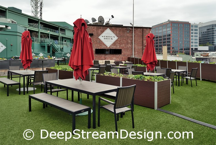 large recycled plastic lumber planters growing produce on Fenway Stadium Strega Deck
