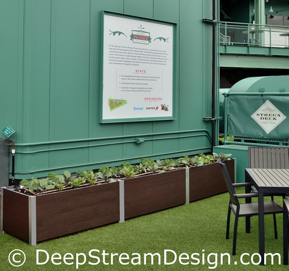 Fenway Park Garden in Deepstream rectangular recycled plastic lumber planters