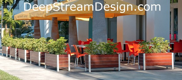 Classic Mariner stand alone commercial wood planters create an upscale sidewalk cafe in Miami and are easy to reconfigure as required. Click for more Info