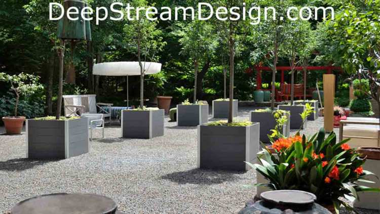 DeepStream's Large square Commercial Wood Planters for Trees use maintenance free recycled plastic lumber inside thier aluminum frames: click for more info