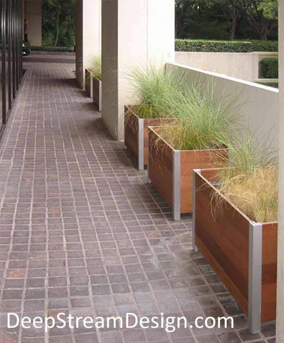 DeepStream Wood Planters with hidden structural aluminum frames: click link for more information on DeepStream Mariner Planters