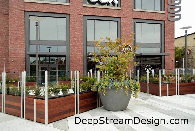 Click for more info on DeepStream Commercial restaurant planter with glass screen wall windbreaks
