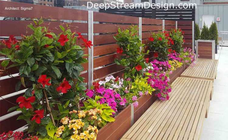 By using DeepStream's Commercial Planters to anchored Screen Walls and Enclosures you don't need to penetrate roof membranes, balconies decks, or sidewalks with fasteners: click for more information