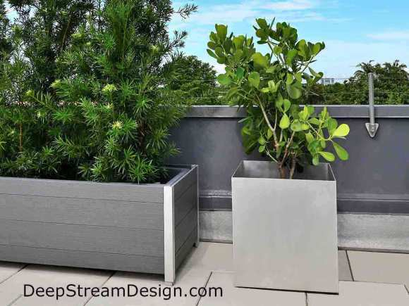 Click this picture to see specific details on DeepStream's website about commercial aluminum planters