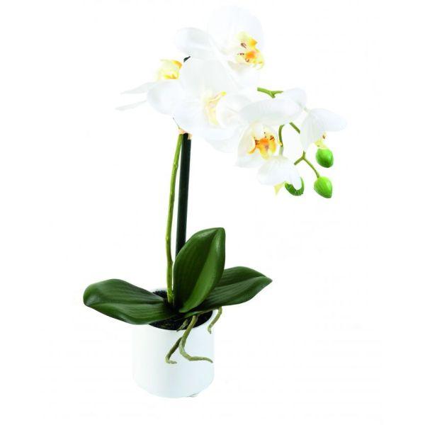orchidée artificielle en pot céramique