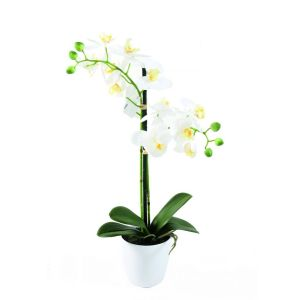 orchidée artificielle en pot pvc