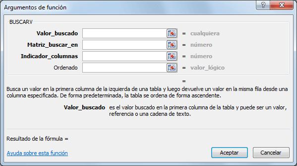 IMAGEN Argumentos BUSCARV en Excel